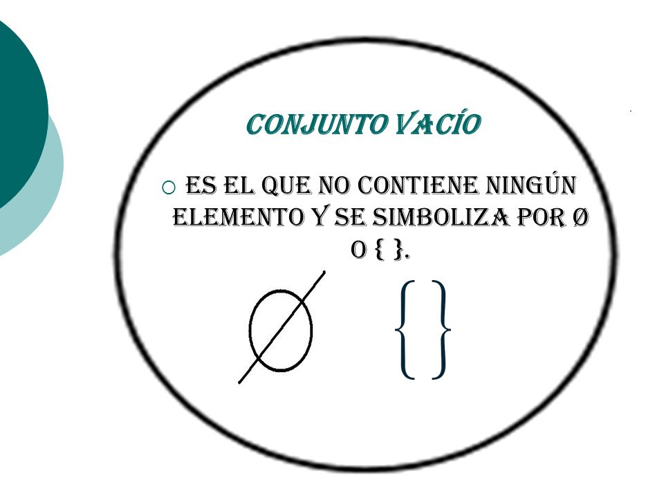 Es el que no contiene ningún elemento y se simboliza por Ø o { }.