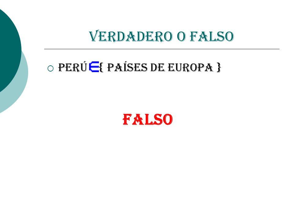 Verdadero o Falso Perú { países de Europa } FALSO