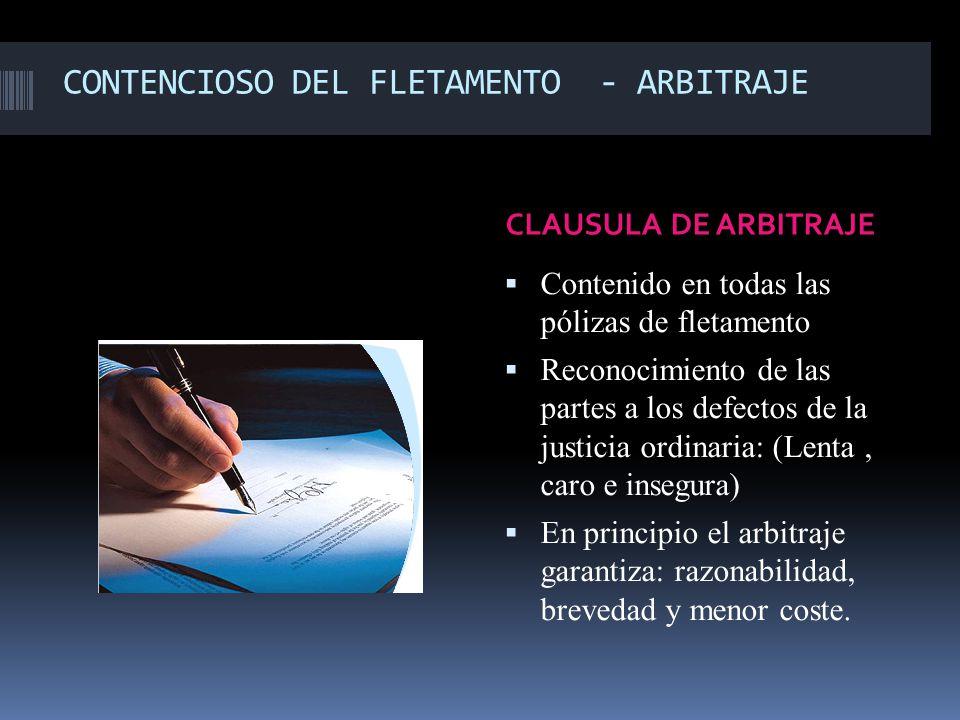 CONTENCIOSO DEL FLETAMENTO - ARBITRAJE