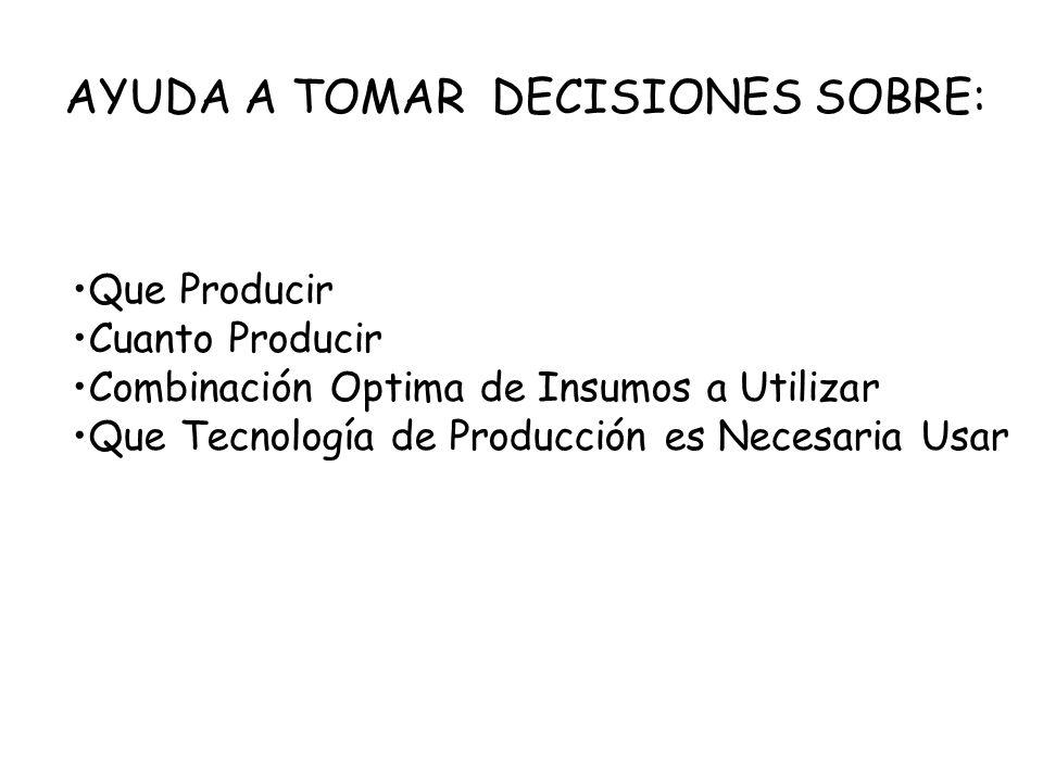 AYUDA A TOMAR DECISIONES SOBRE: