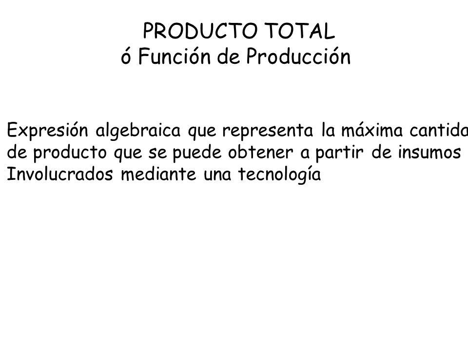 PRODUCTO TOTAL ó Función de Producción