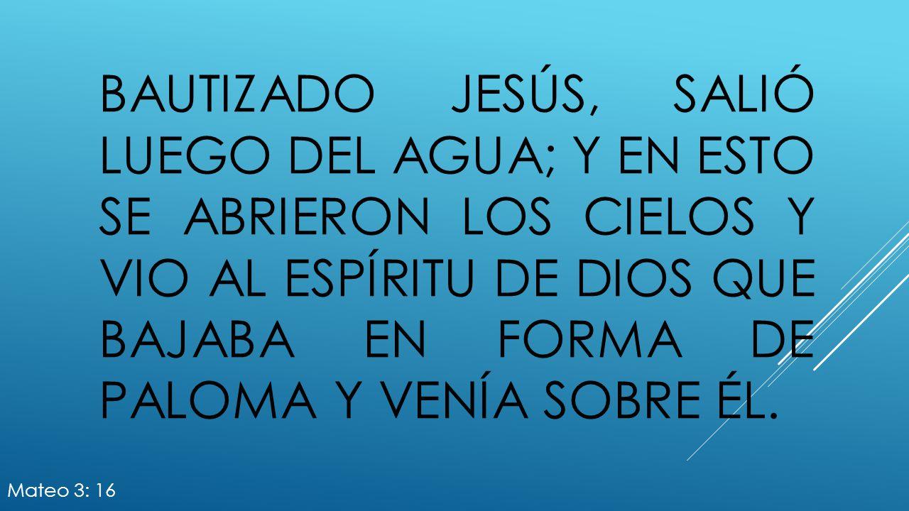 Bautizado Jesús, salió luego del agua; y en esto se abrieron los cielos y vio al Espíritu de Dios que bajaba en forma de paloma y venía sobre él.