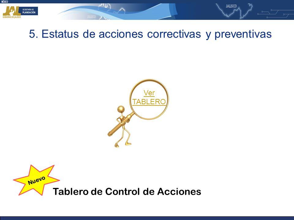 5. Estatus de acciones correctivas y preventivas