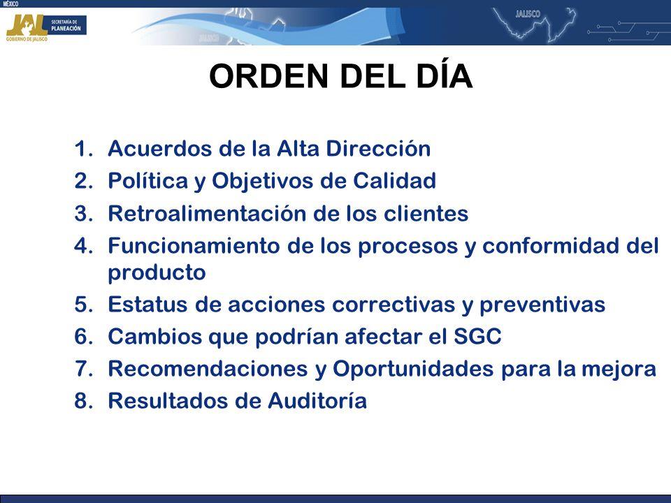 ORDEN DEL DÍA Acuerdos de la Alta Dirección