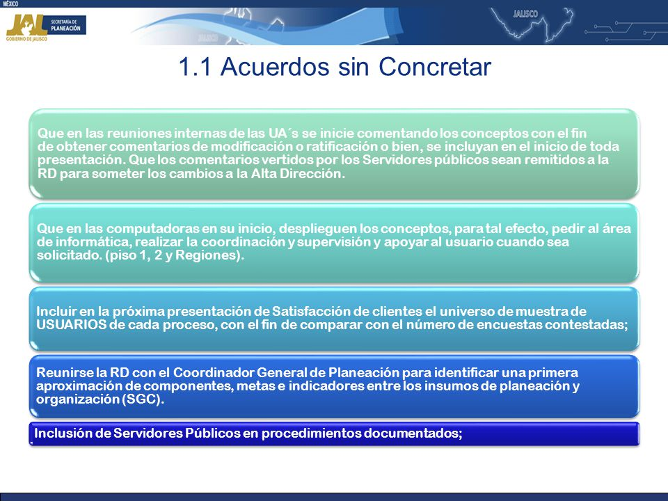 1.1 Acuerdos sin Concretar