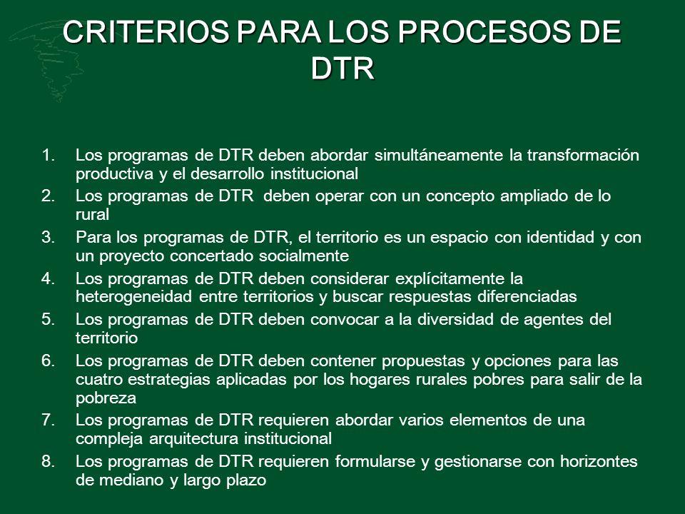 CRITERIOS PARA LOS PROCESOS DE DTR