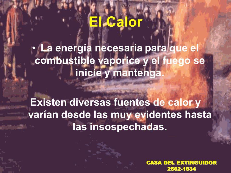 El Calor La energía necesaria para que el combustible vaporice y el fuego se inicie y mantenga.