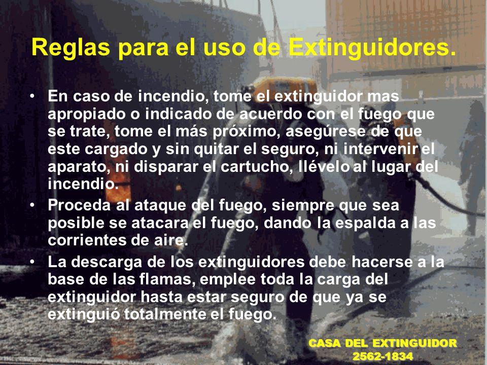 Reglas para el uso de Extinguidores.