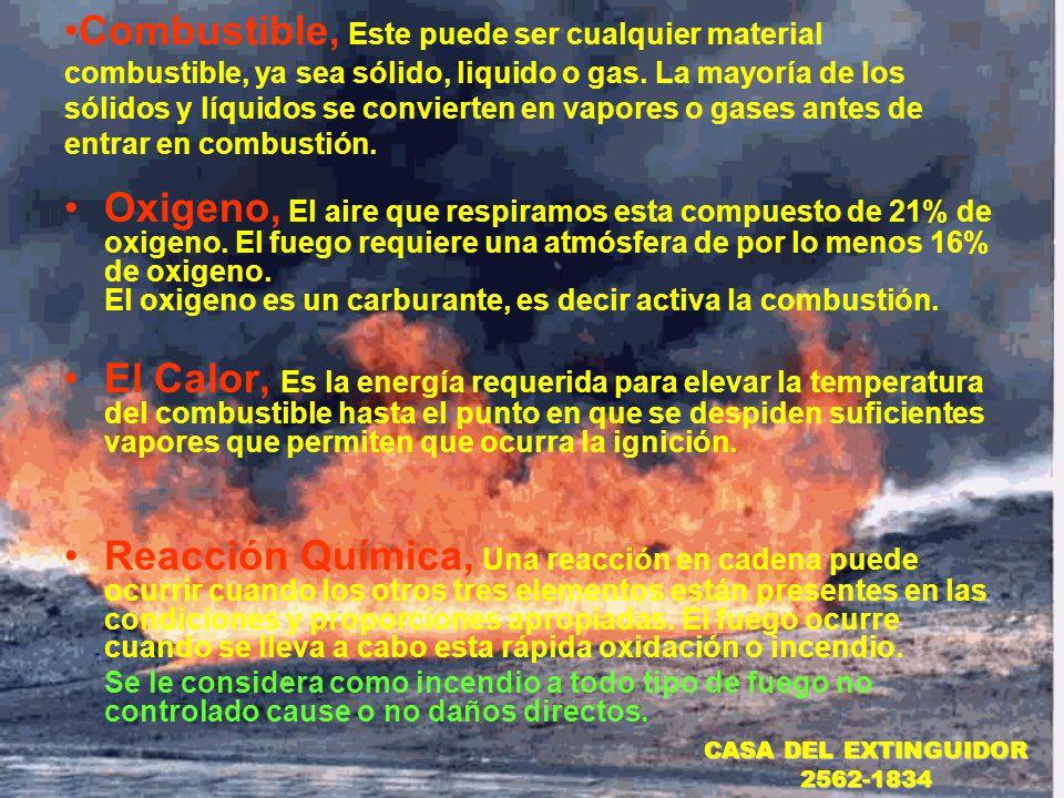 Combustible, Este puede ser cualquier material combustible, ya sea sólido, liquido o gas. La mayoría de los sólidos y líquidos se convierten en vapores o gases antes de entrar en combustión.