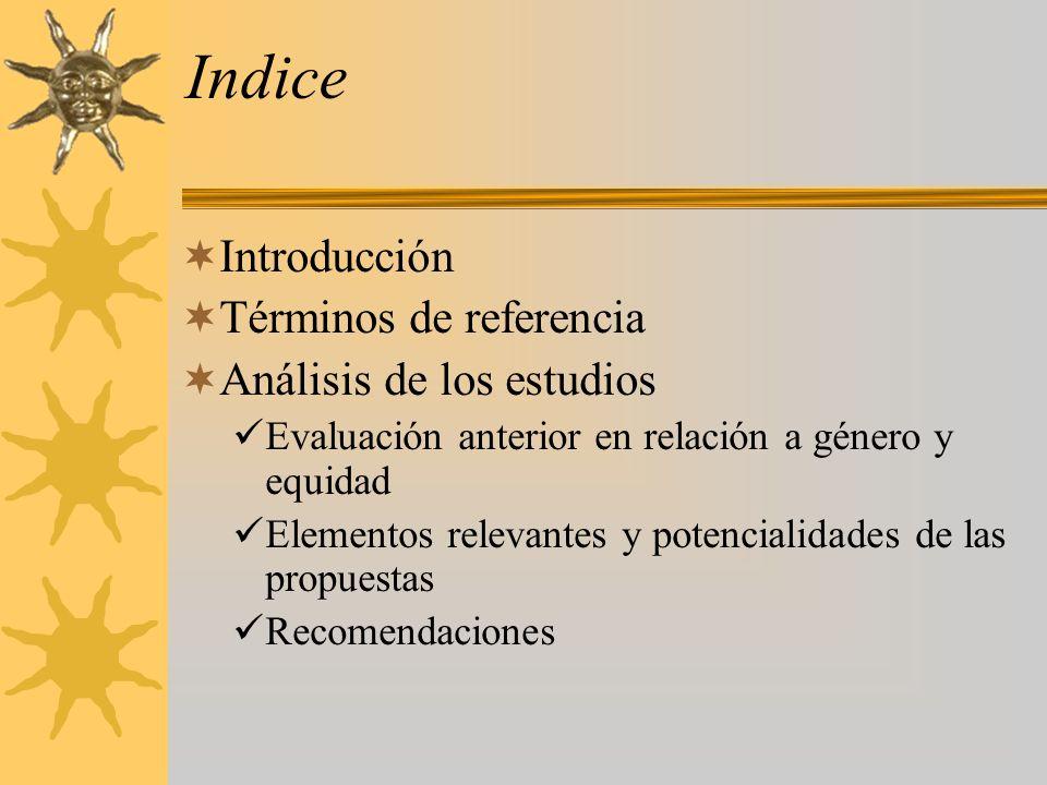 Indice Introducción Términos de referencia Análisis de los estudios