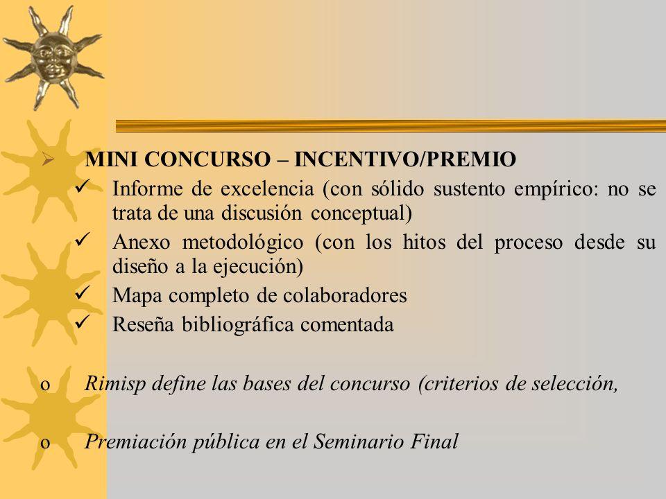 MINI CONCURSO – INCENTIVO/PREMIO