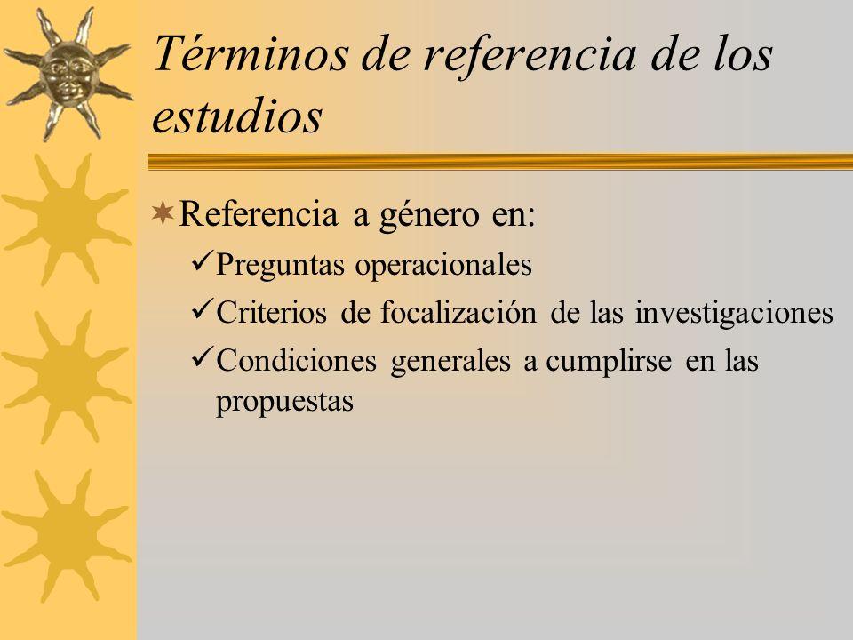 Términos de referencia de los estudios