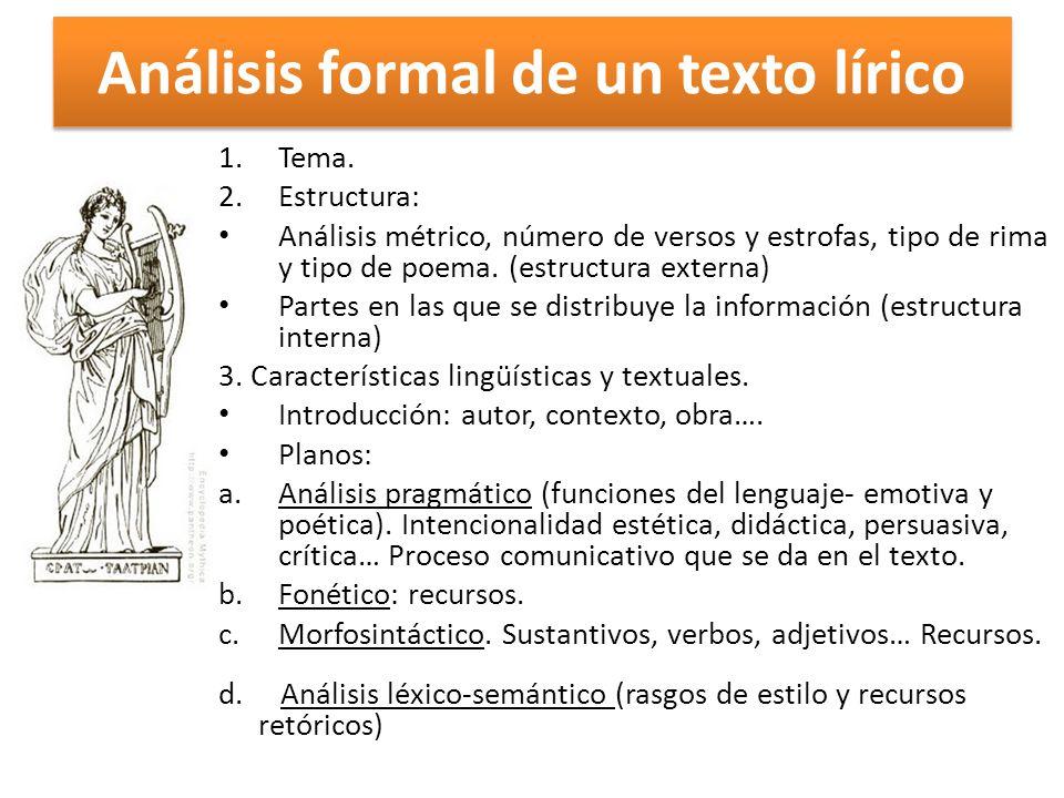 Análisis formal de un texto lírico