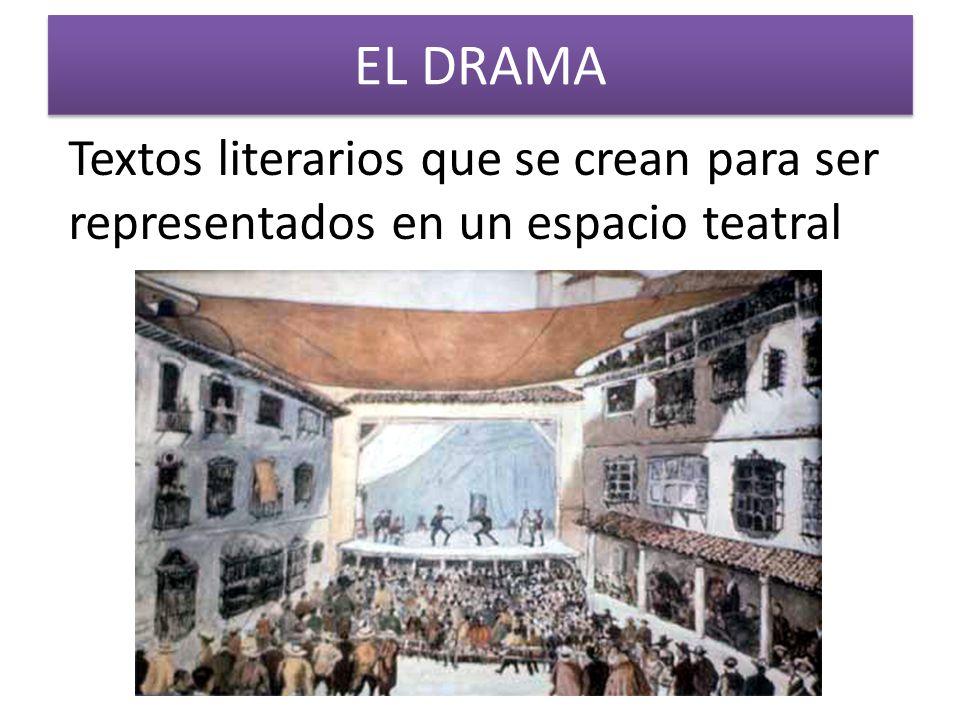 EL DRAMA Textos literarios que se crean para ser representados en un espacio teatral