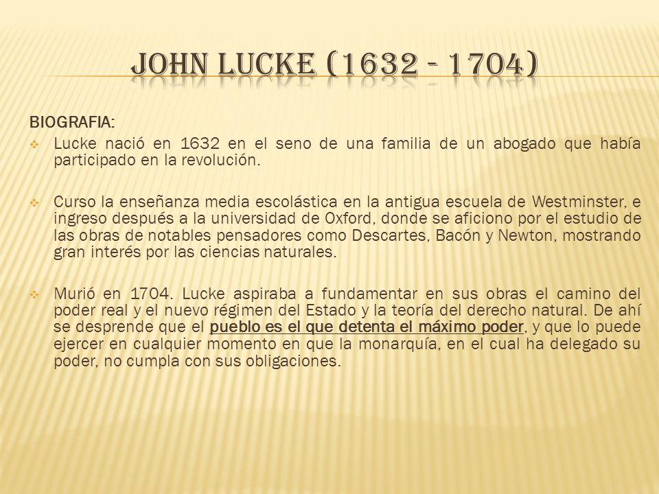 JOHN Lucke (1632 - 1704) BIOGRAFIA: