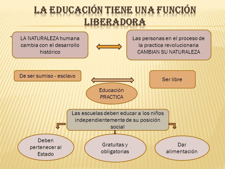 LA EDUCACIÓN TIENE UNA FUNCIÓN LIBERADORA