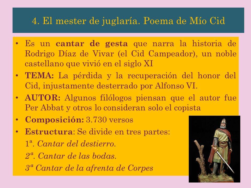 4. El mester de juglaría. Poema de Mío Cid