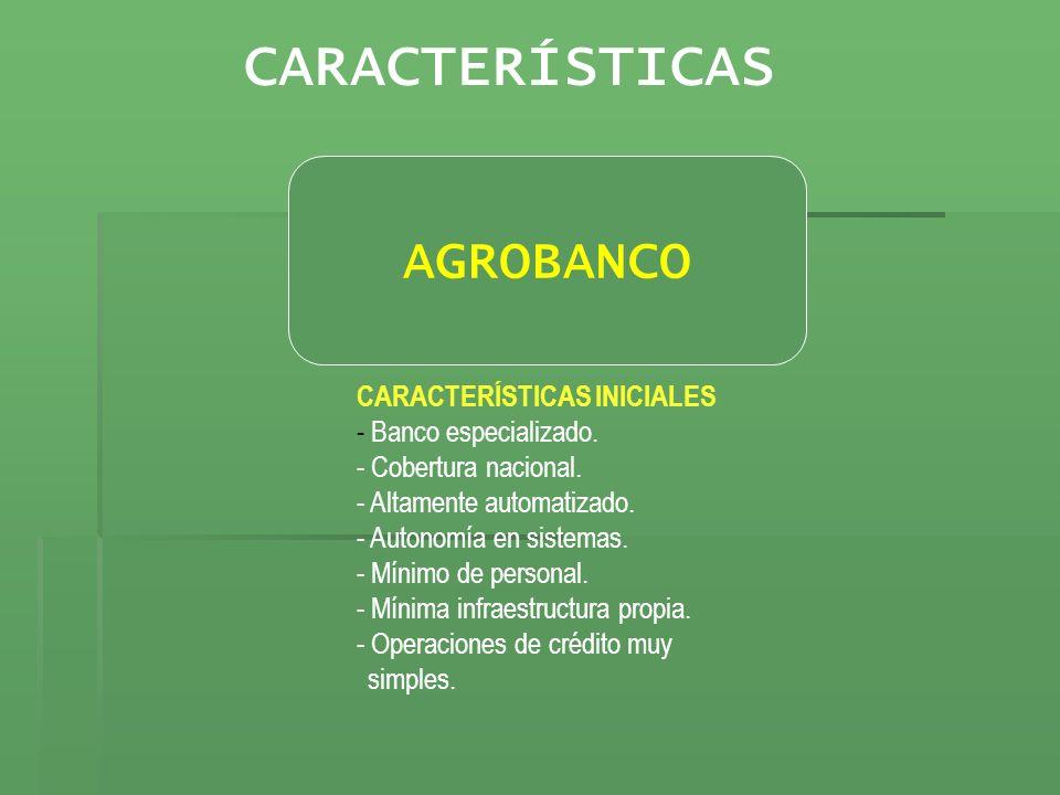 CARACTERÍSTICAS AGROBANCO CARACTERÍSTICAS INICIALES