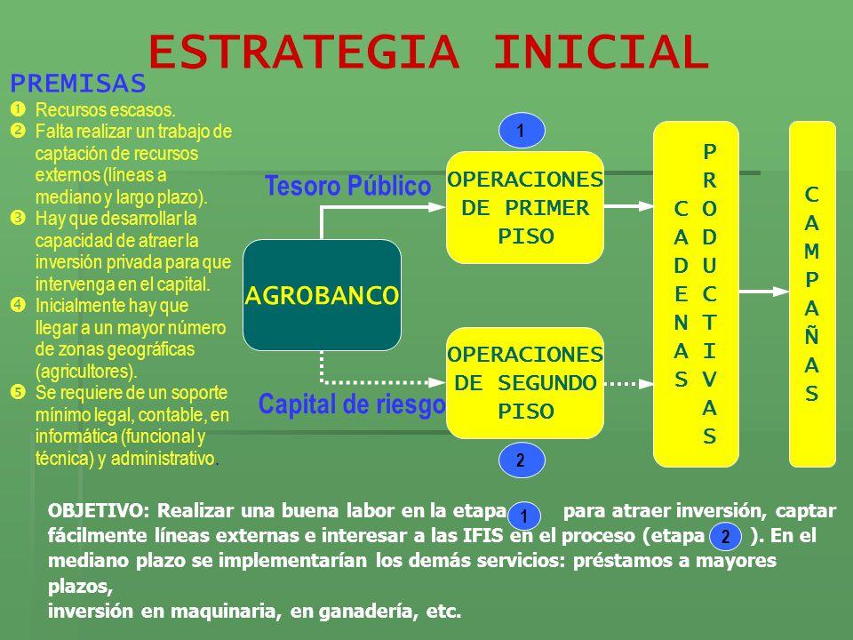 ESTRATEGIA INICIAL PREMISAS Tesoro Público AGROBANCO Capital de riesgo