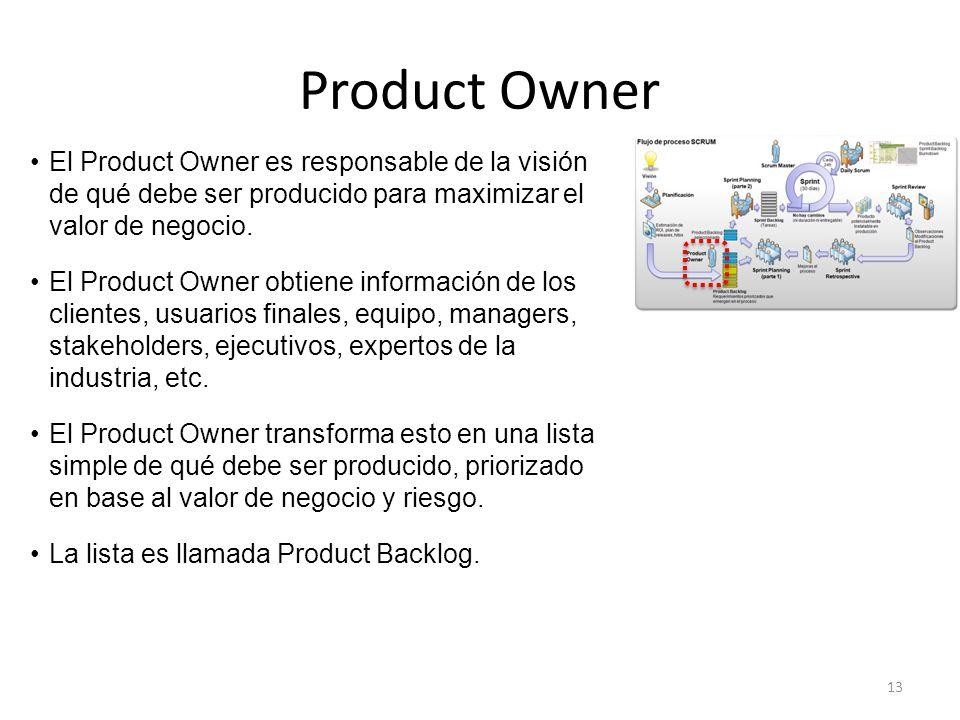 Product Owner El Product Owner es responsable de la visión de qué debe ser producido para maximizar el valor de negocio.