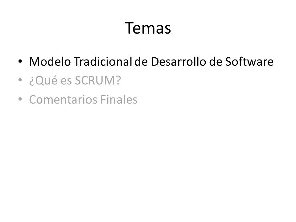 Temas Modelo Tradicional de Desarrollo de Software ¿Qué es SCRUM