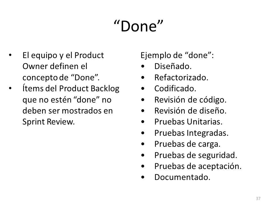 Done El equipo y el Product Owner definen el concepto de Done .