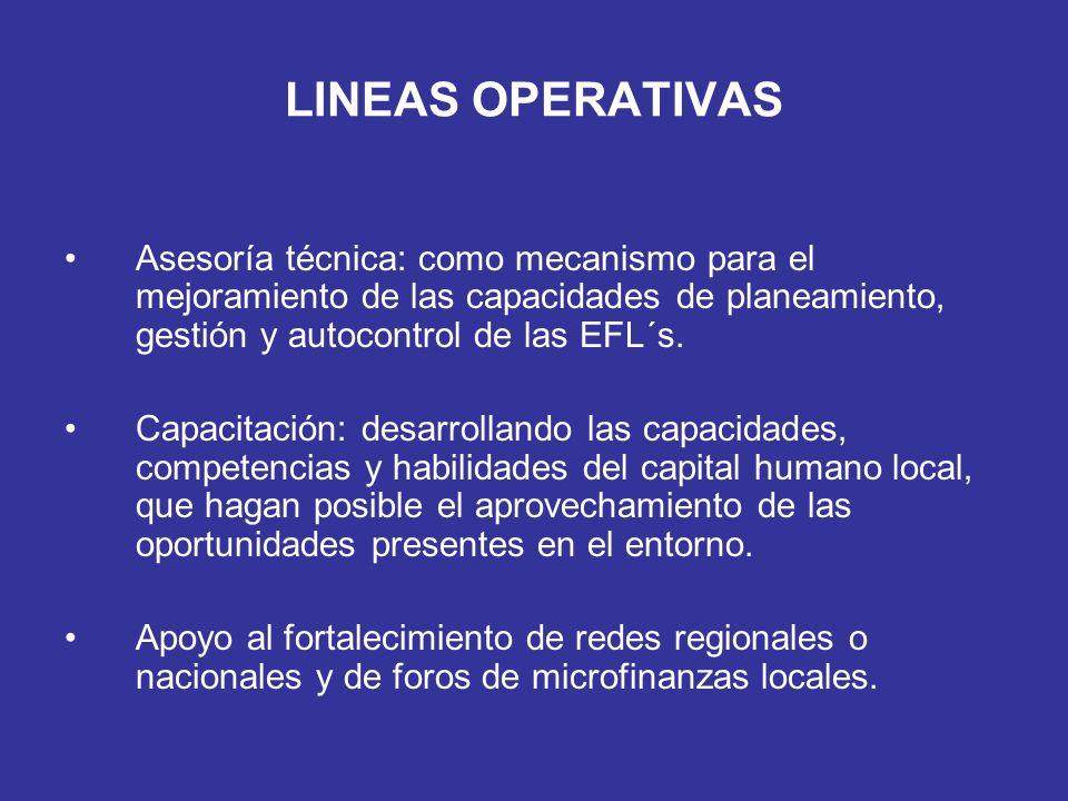 LINEAS OPERATIVASAsesoría técnica: como mecanismo para el mejoramiento de las capacidades de planeamiento, gestión y autocontrol de las EFL´s.