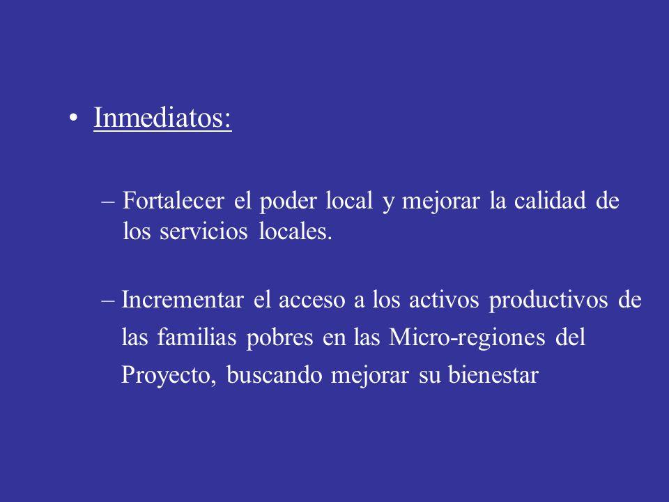 Inmediatos:Fortalecer el poder local y mejorar la calidad de los servicios locales. Incrementar el acceso a los activos productivos de.