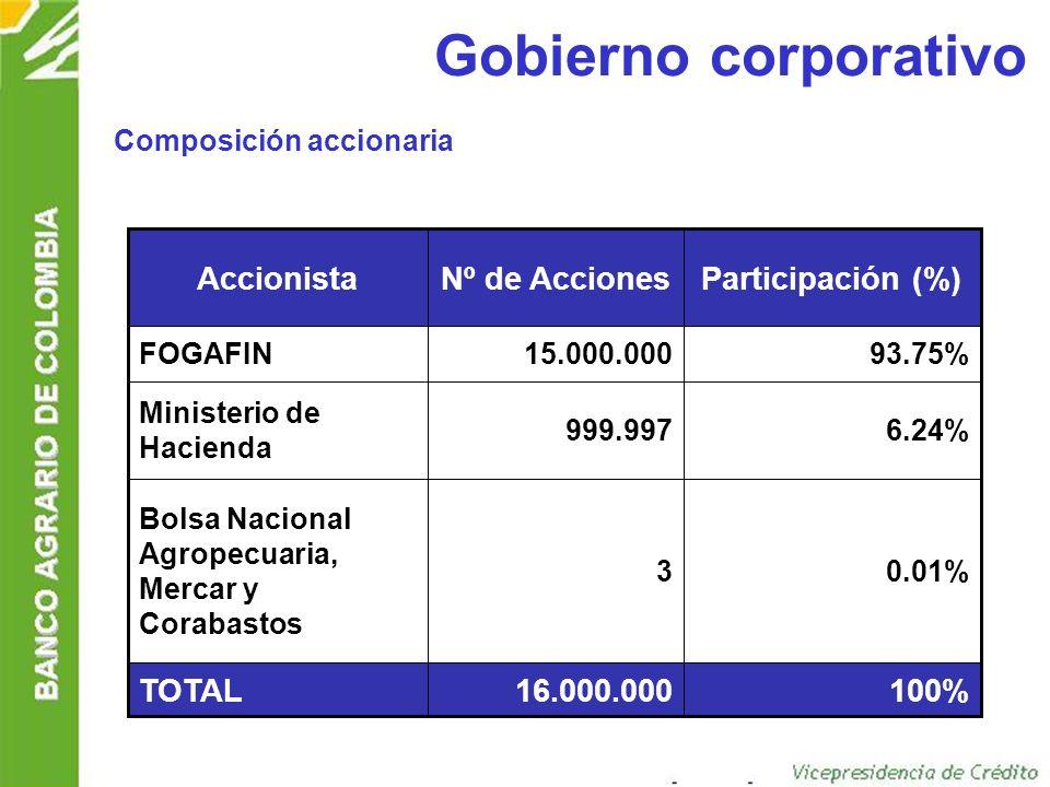 Gobierno corporativo 100% 16.000.000 TOTAL Participación (%)