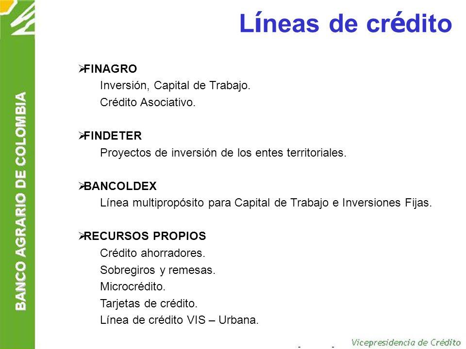 Líneas de crédito FINAGRO Inversión, Capital de Trabajo.