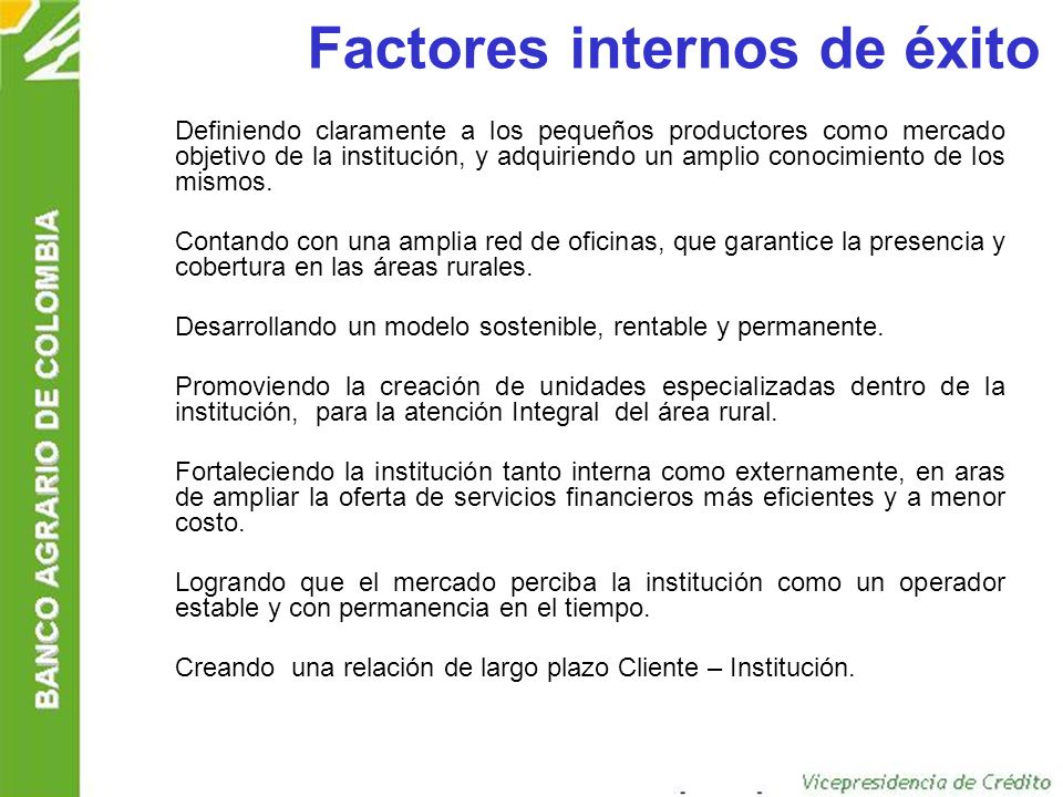 Factores internos de éxito