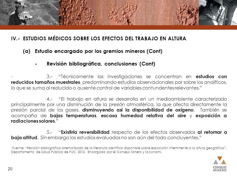 IV.- ESTUDIOS MÉDICOS SOBRE LOS EFECTOS DEL TRABAJO EN ALTURA