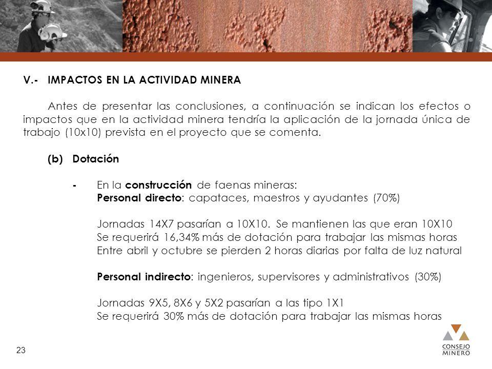 V.- IMPACTOS EN LA ACTIVIDAD MINERA