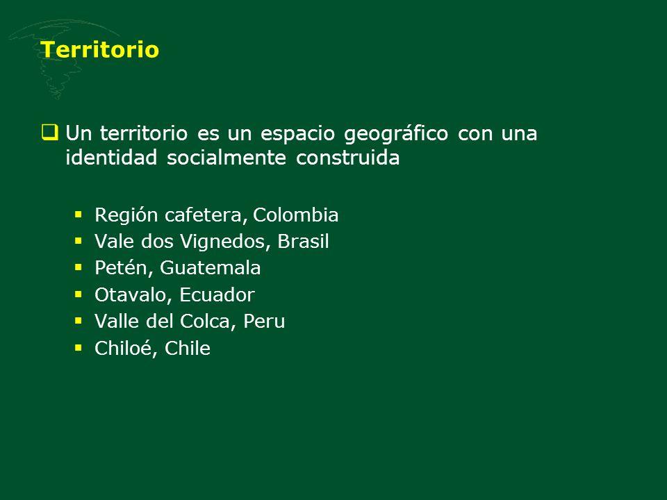 Territorio Un territorio es un espacio geográfico con una identidad socialmente construida. Región cafetera, Colombia.