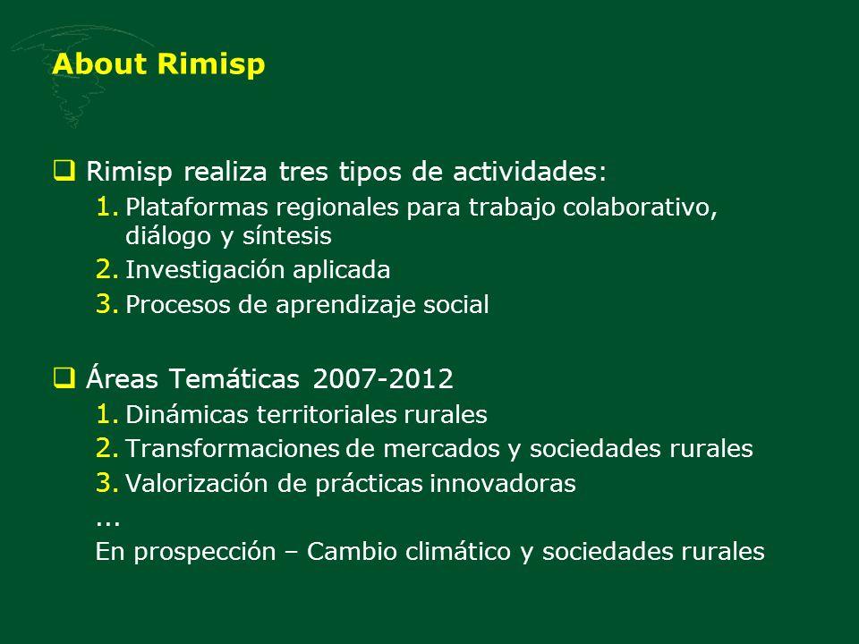 About Rimisp Rimisp realiza tres tipos de actividades: