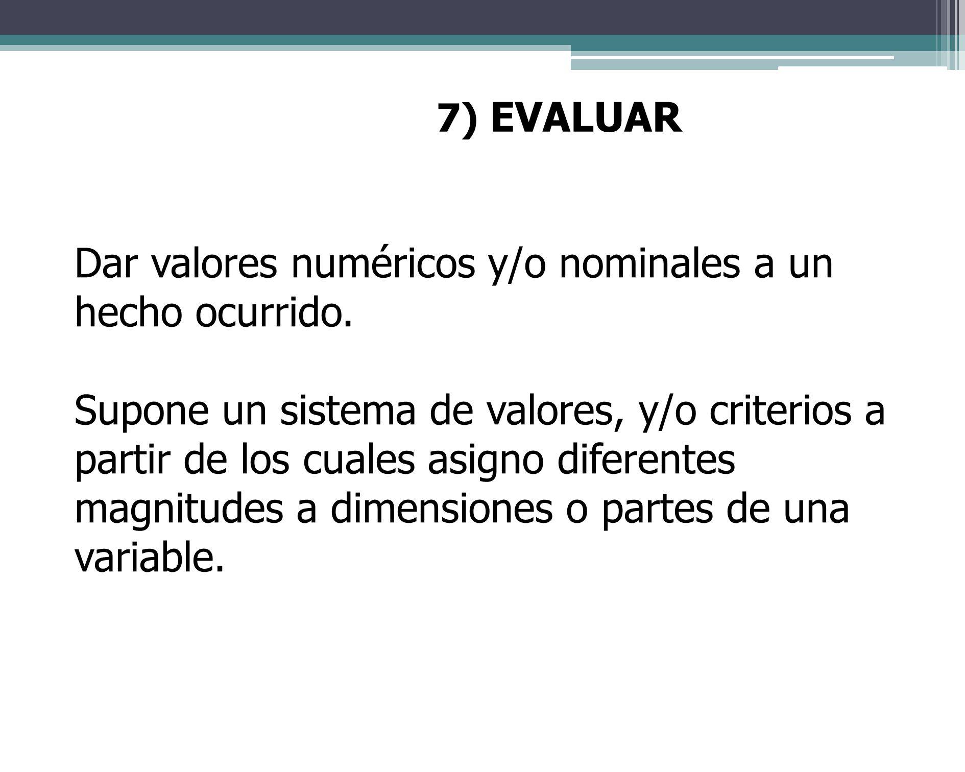 Dar valores numéricos y/o nominales a un hecho ocurrido.