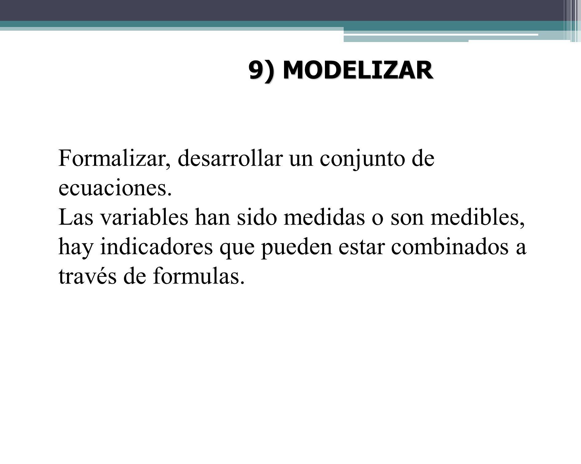 9) MODELIZAR Formalizar, desarrollar un conjunto de ecuaciones.