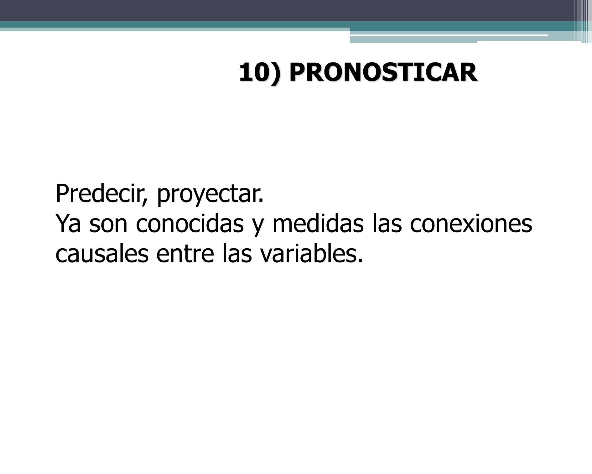 10) PRONOSTICAR Predecir, proyectar.
