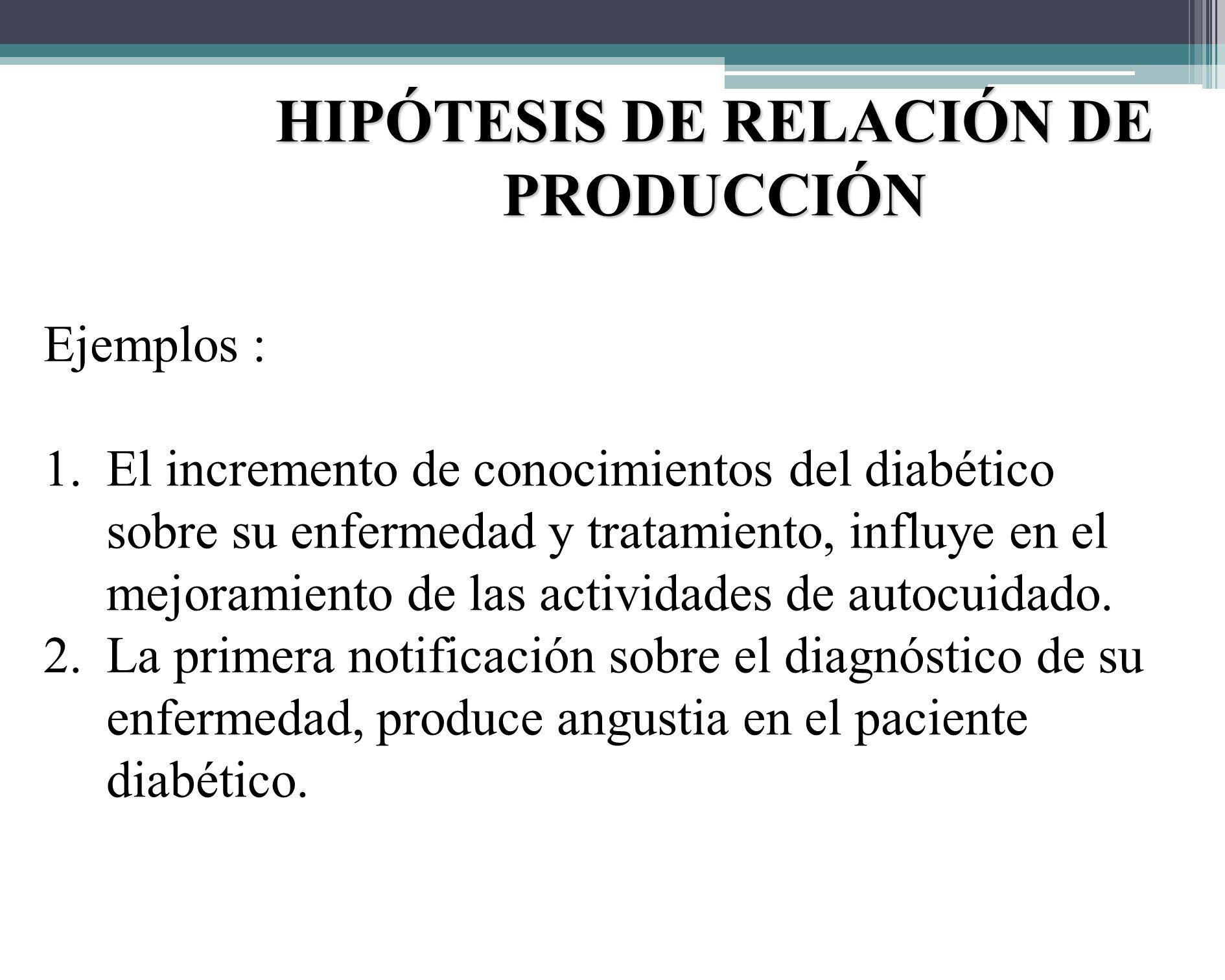 HIPÓTESIS DE RELACIÓN DE PRODUCCIÓN