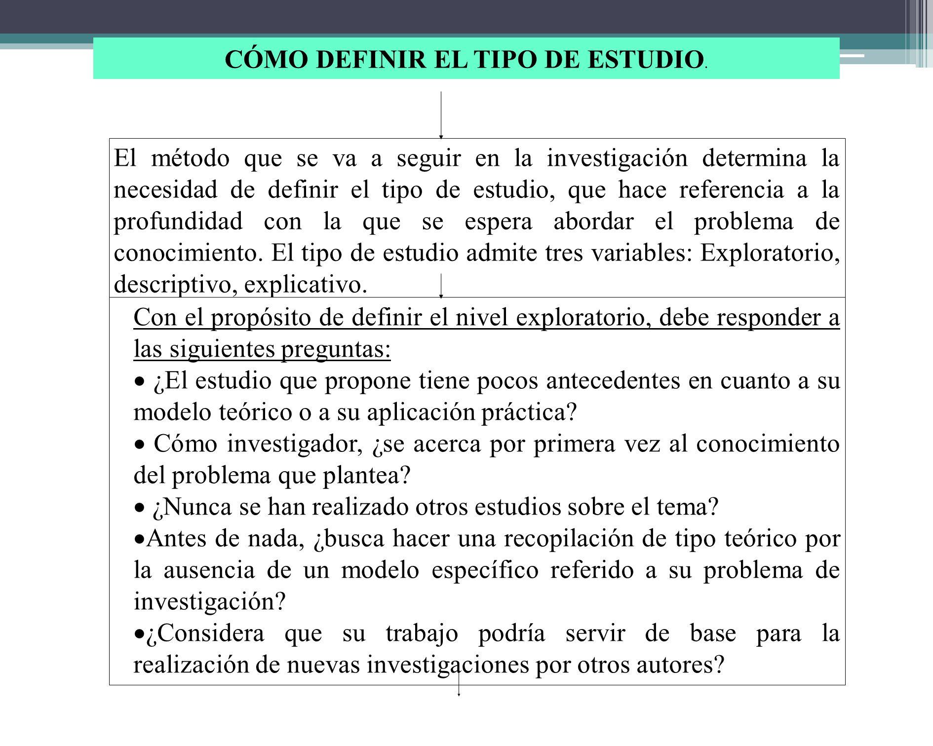 CÓMO DEFINIR EL TIPO DE ESTUDIO.