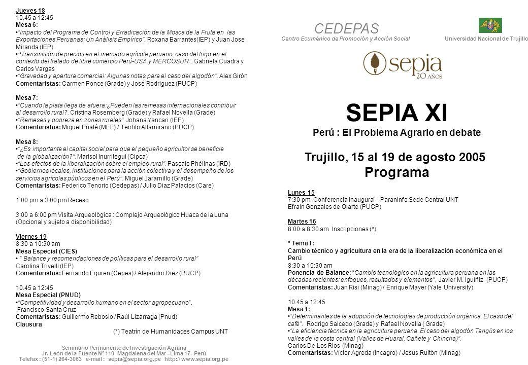 SEPIA XI CEDEPAS Programa Trujillo, 15 al 19 de agosto 2005