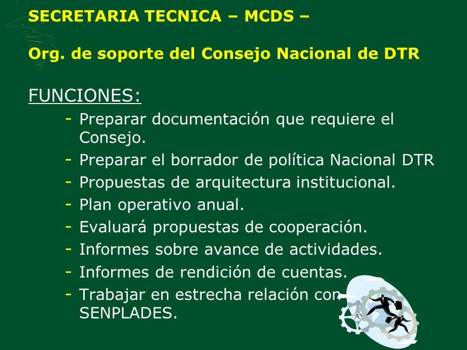 SECRETARIA TECNICA – MCDS – Org. de soporte del Consejo Nacional de DTR
