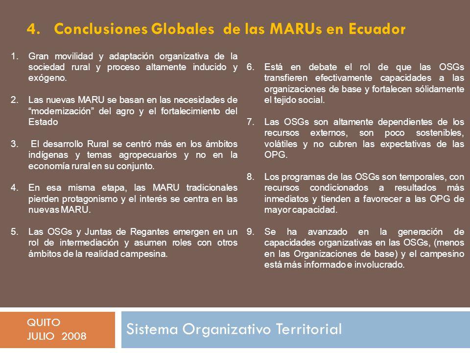 4. Conclusiones Globales de las MARUs en Ecuador