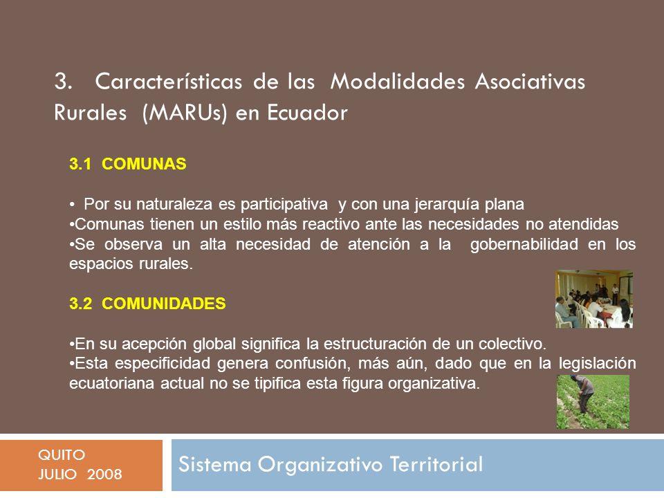 3. Características de las Modalidades Asociativas Rurales (MARUs) en Ecuador