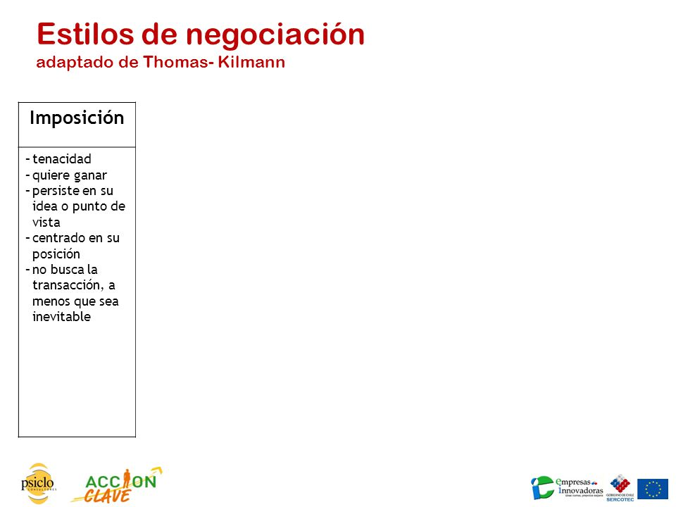Estilos de negociación adaptado de Thomas- Kilmann