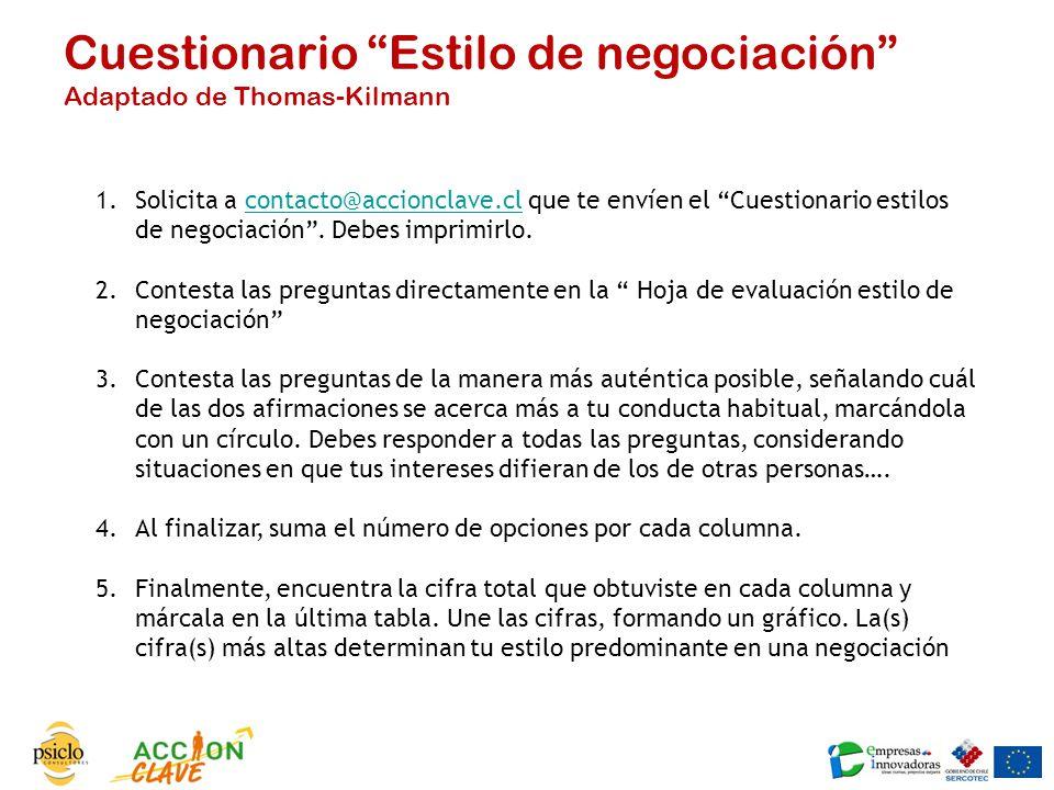 Cuestionario Estilo de negociación Adaptado de Thomas-Kilmann