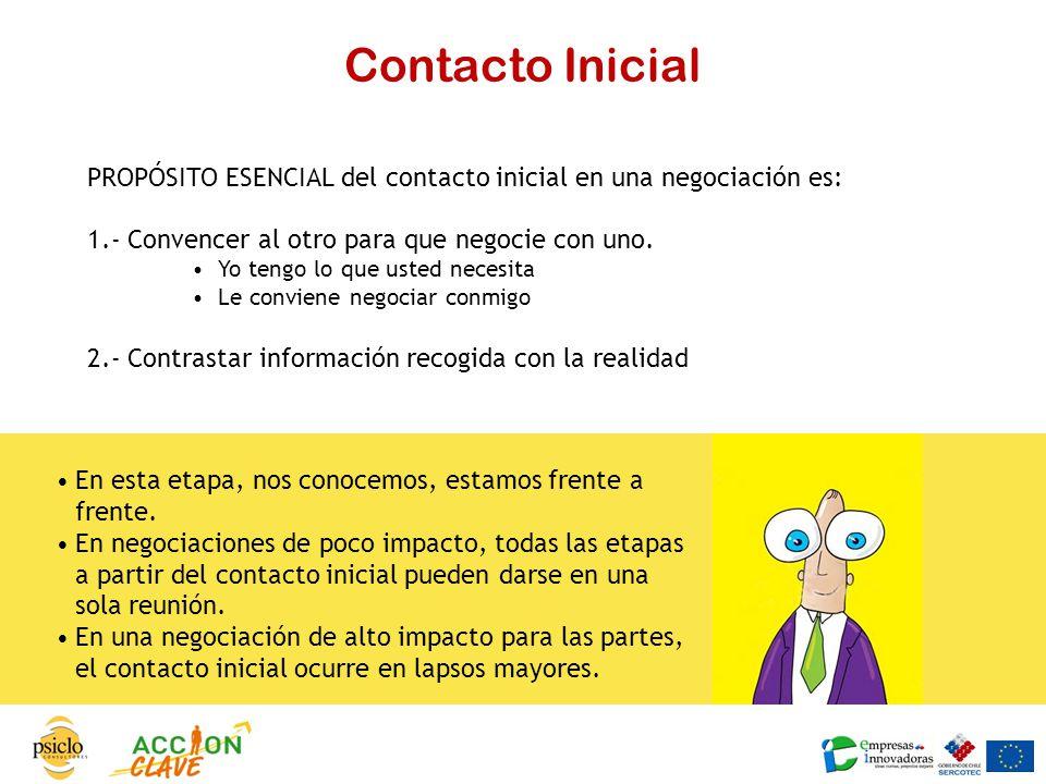 Contacto Inicial PROPÓSITO ESENCIAL del contacto inicial en una negociación es: 1.- Convencer al otro para que negocie con uno.