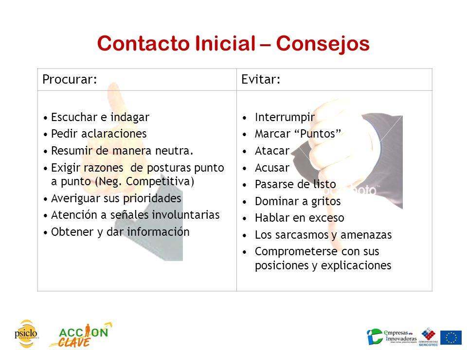 Contacto Inicial – Consejos