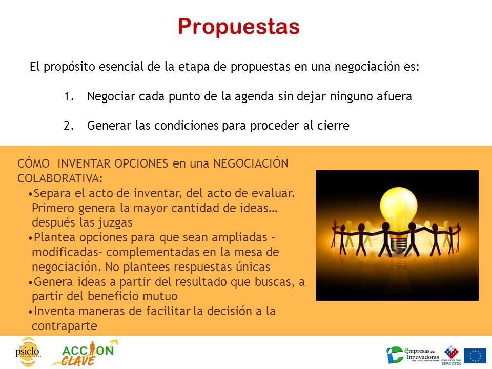 Propuestas El propósito esencial de la etapa de propuestas en una negociación es: Negociar cada punto de la agenda sin dejar ninguno afuera.