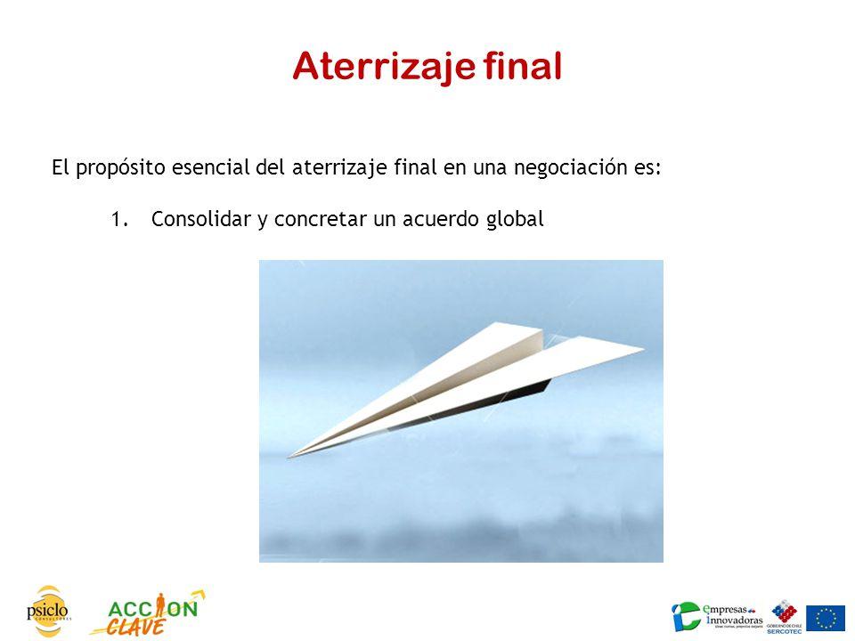 Aterrizaje final El propósito esencial del aterrizaje final en una negociación es: Consolidar y concretar un acuerdo global.